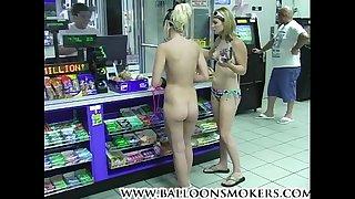 Blonde teen walks into market nude