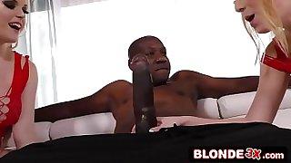 Blonde Teens Double-Team Giant Black Dick